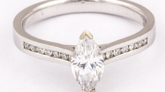 Marquise shaped diamond solitaire