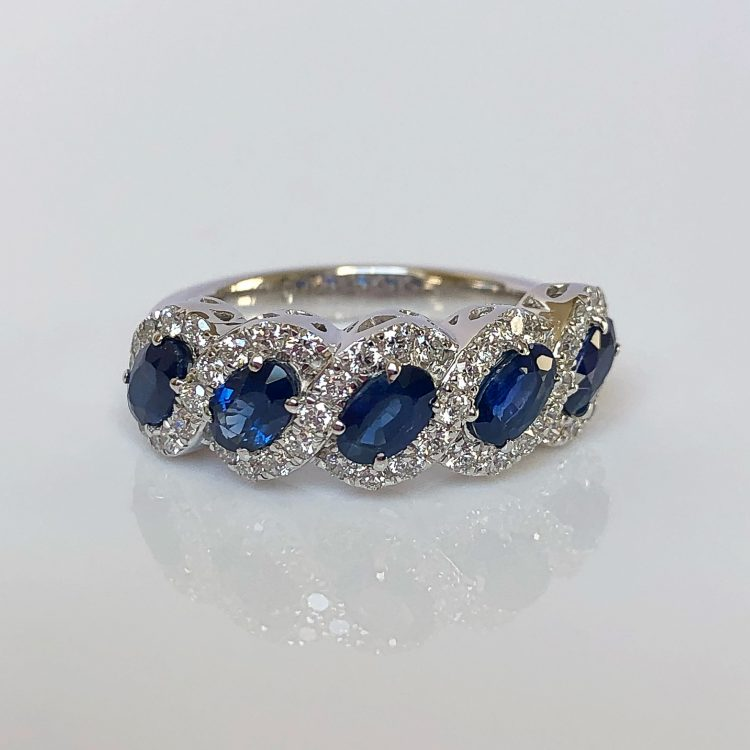 18ct White Gold, Sapphire & Diamond Fancy Cluster Ring
