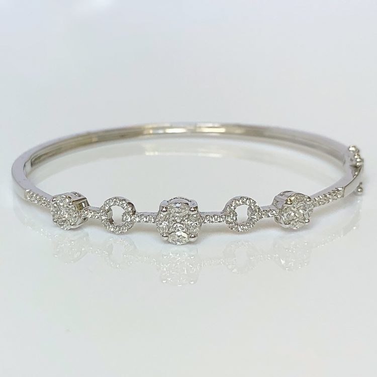 Diamond Set Cluster Bangle