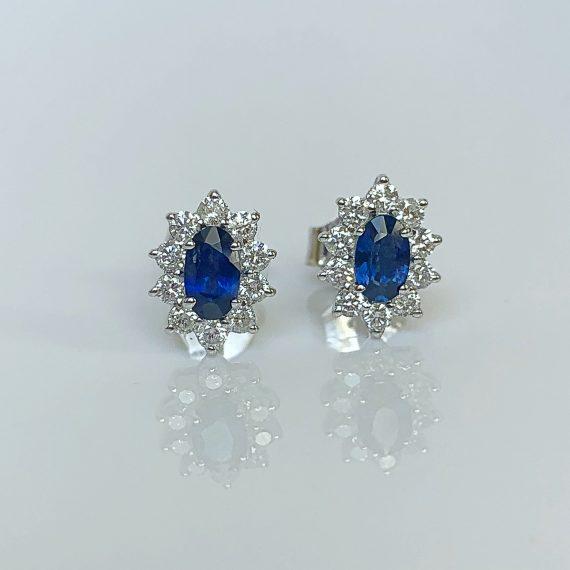 Sapphire & Diamond Marquise Cluster Earrings