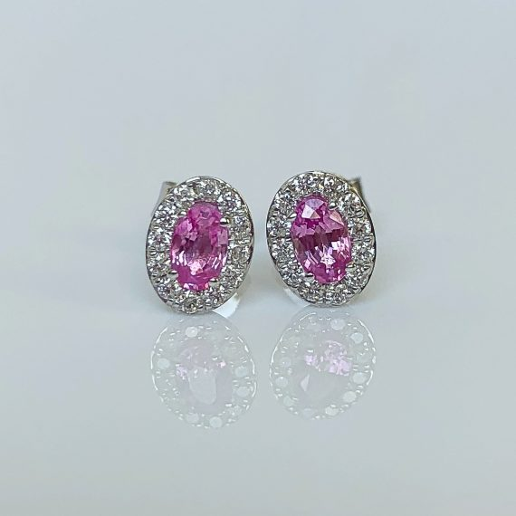 Pink Sapphire & Diamond Oval Cluster Earrings