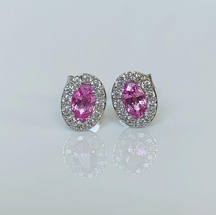Pink Sapphire & Diamond Oval Cluster Earrings