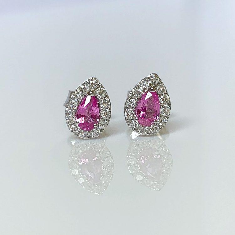 Pink Sapphire & Diamond Pear Cluster Earrings