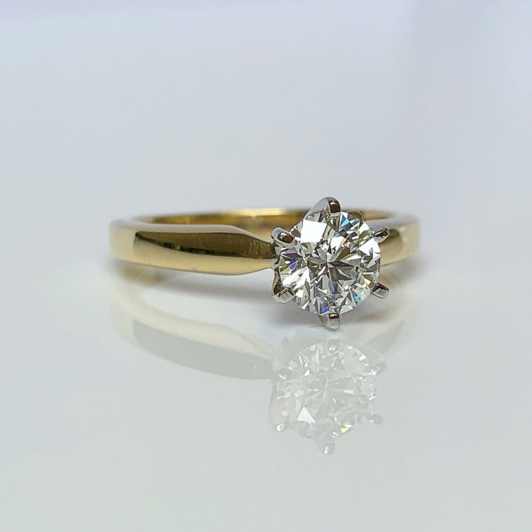 18ct Yellow & White Gold, 0.75ct Diamond Solitaire Engagement Ring