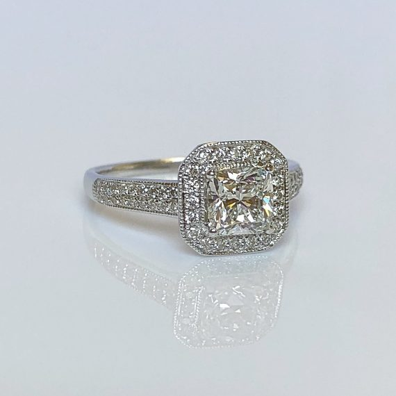 18ct White Gold & Princess Cut Diamond Halo Cluster Ring