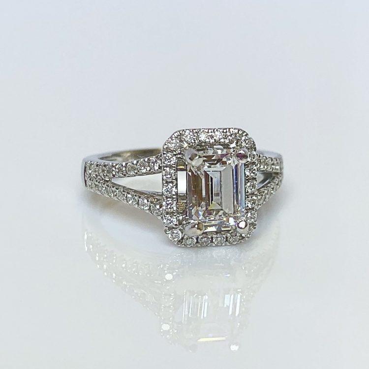 18ct White Gold & 1.35ct Emerald Cut Diamond Halo Engagement Ring