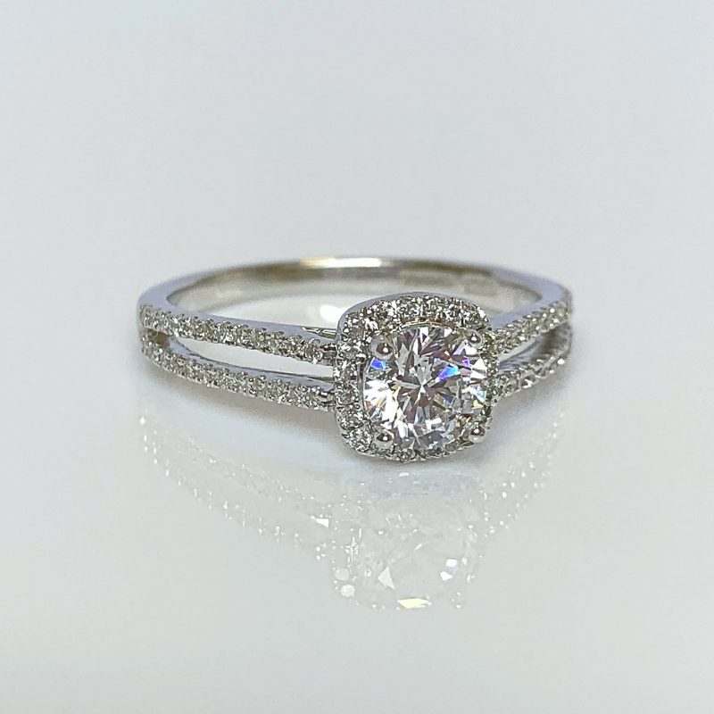 4a602d4ba 18ct White Gold & 0.76ct Diamond Halo Engagement Ring ...