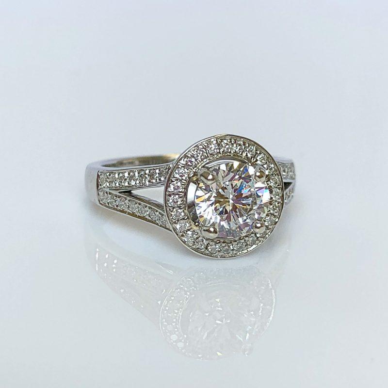 ba660a4d9 18ct White Gold & 1.26ct Diamond Halo Engagement Ring | International  Diamond Brokers
