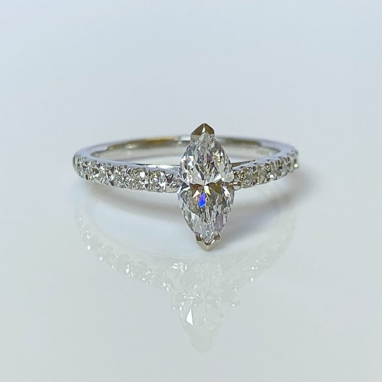 18ct White Gold & 0.78ct Marquise Cut Diamond Solitaire Engagement Ring