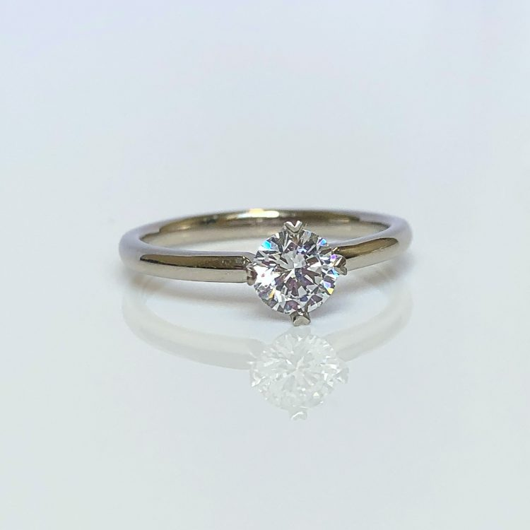 18ct White Gold & 0.68ct Diamond Solitaire Engagement Ring