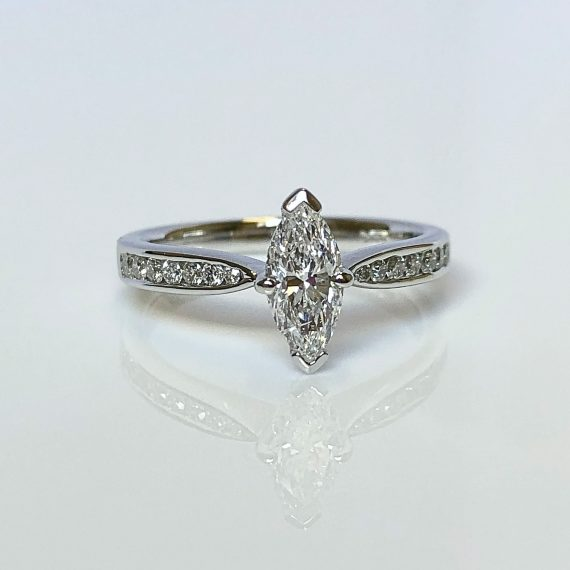 18ct White Gold & Marquise Cut Diamond Solitaire Ring