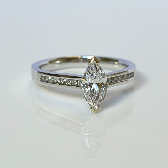 18ct White Gold & Marquise Diamond Solitaire