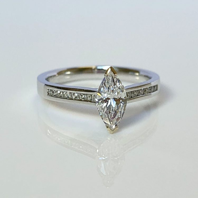 18ct White Gold & 0.82ct Marquise Cut Diamond Solitaire Engagement Ring