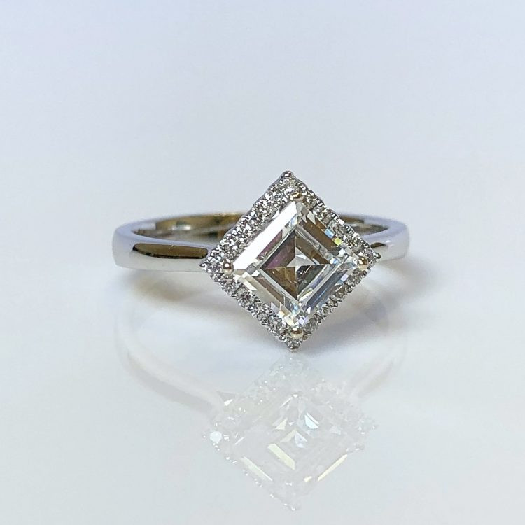 18ct White Gold & 1.22ct Asscher Cut Diamond Halo Engagement Ring