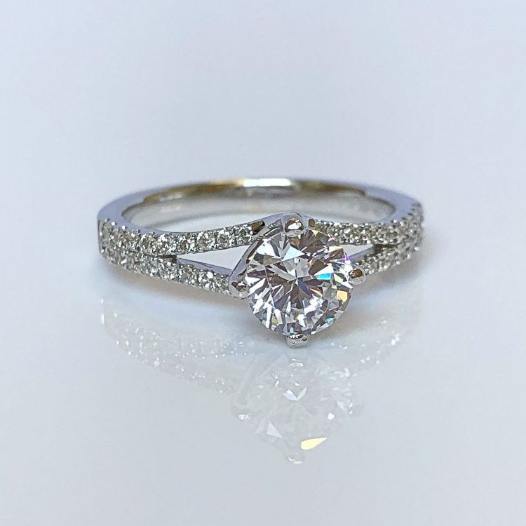18ct White Gold & 1.11ct Diamond Solitaire Engagement Ring