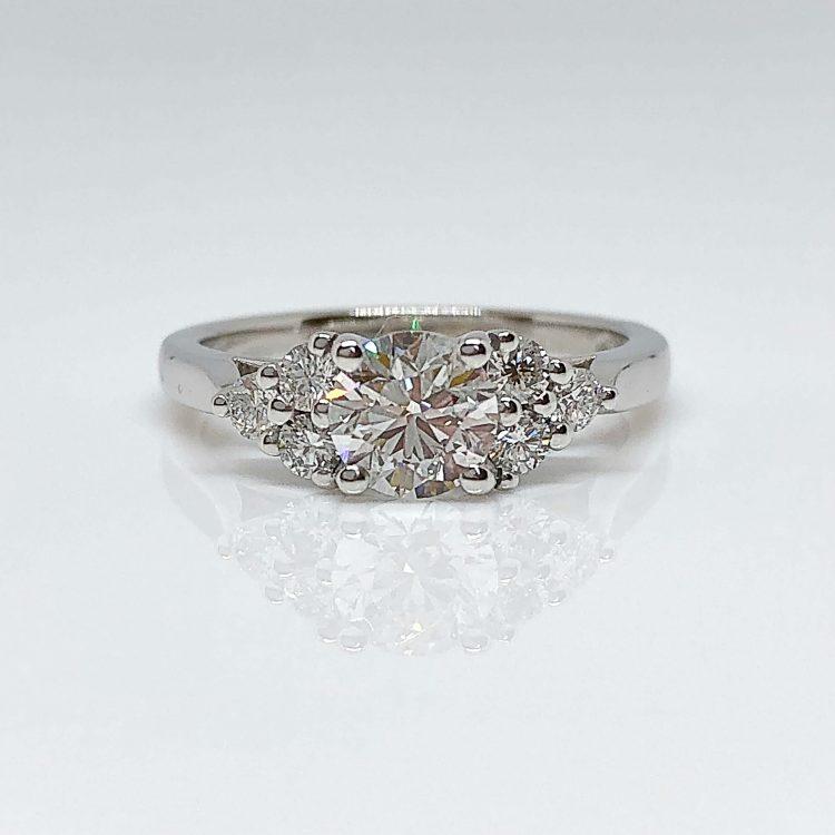 18ct White Gold & 0.70ct Diamond Multi Stone Engagement Ring