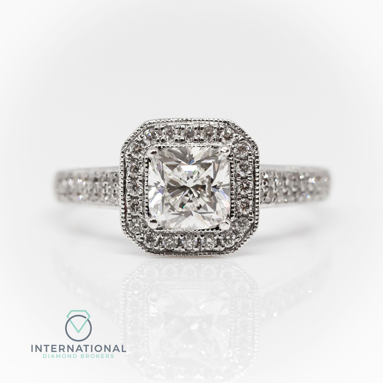 18ct White Gold 1 02ct Cushion Cut Diamond Halo Engagement Ring