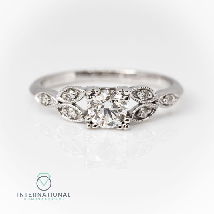 18ct White Gold & 0.49ct Diamond Deco Style Engagement Ring