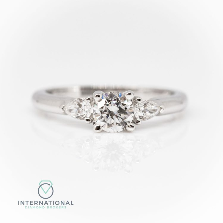 18ct White Gold & 0.80ct Diamond Mixed Cut Trilogy Engagement Ring