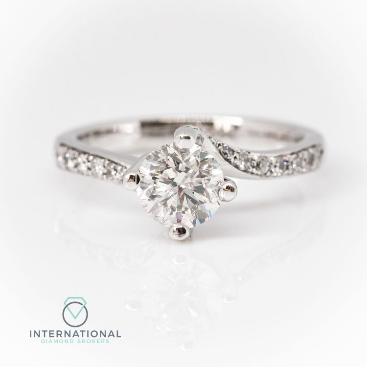18ct White Gold & 1.16ct Diamond Twist Solitaire Engagement Ring