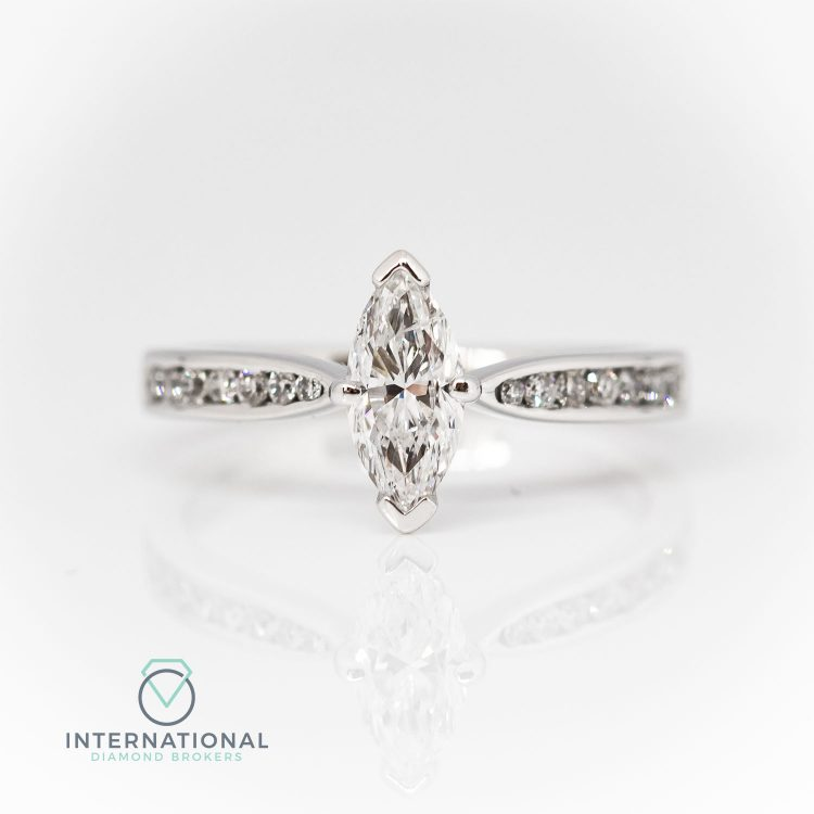 18ct White Gold & 0.59ct Marquise Cut Diamond Solitaire Engagement Ring