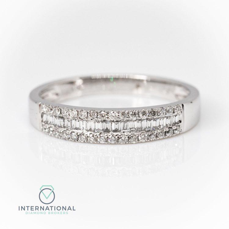 18ct White Gold 0.44ct Mixed Cut Diamond Half Eternity Ring
