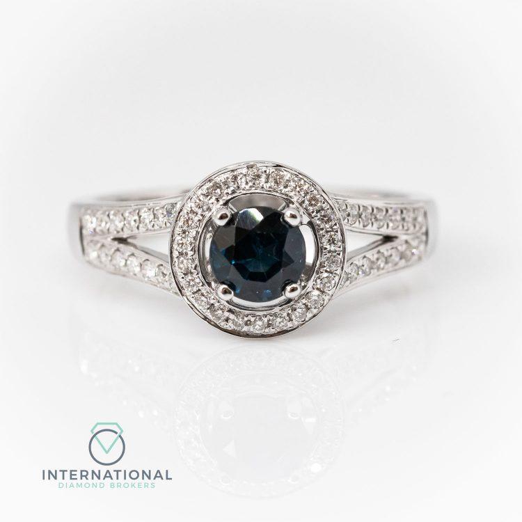18ct White Gold, Round Sapphire & Diamond Halo Cluster Ring