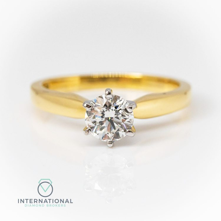18ct Yellow Gold & 0.64ct Diamond 6 Claw Solitaire Engagement Ring
