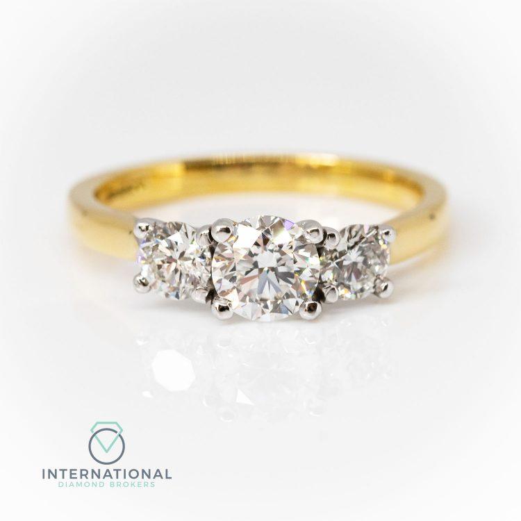 18ct Yellow Gold, 1.10ct Diamond Trilogy Engagement Ring