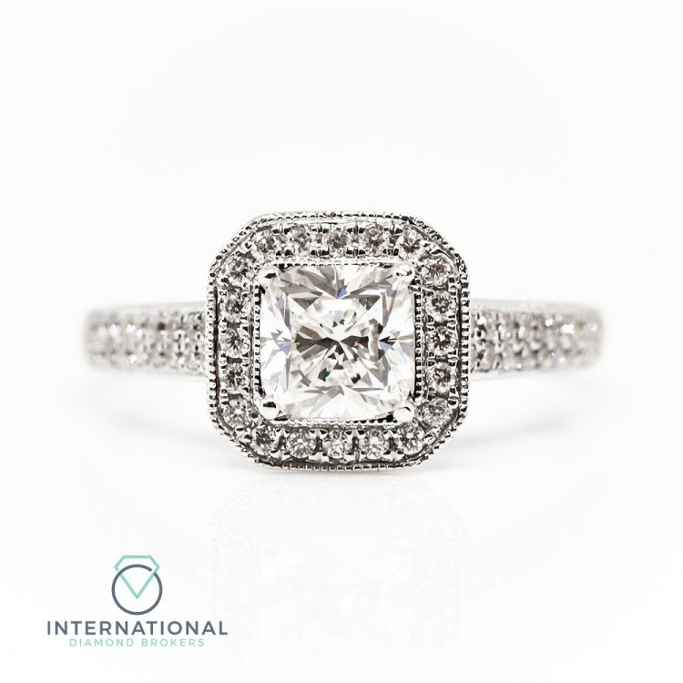 18ct White Gold & 1.02ct Cushion Cut Diamond Halo Engagement Ring