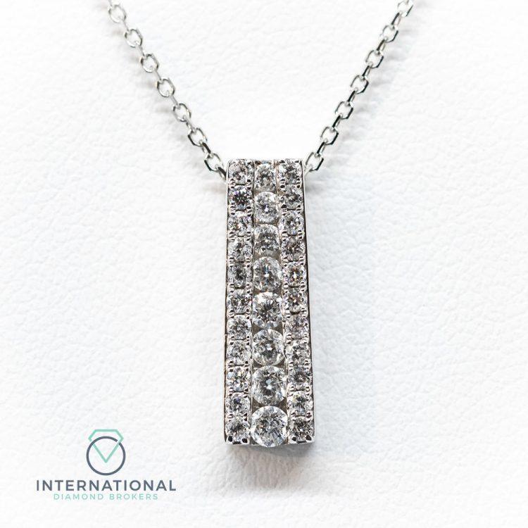 18ct White Gold 0.40ct Diamond Deco Style Pendant & Chain