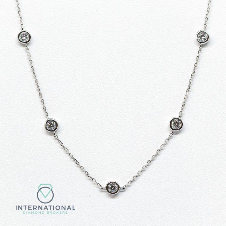 18ct White Gold 0.70ct Diamond Chain Necklace