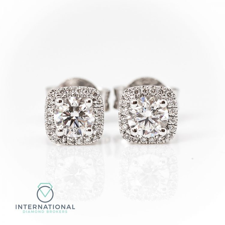 18ct White Gold & 1.00ct Diamond Halo Cluster Stud Earrings