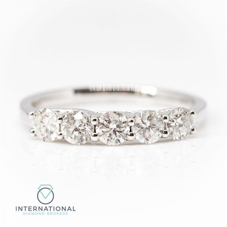 18ct White Gold 0.94ct Diamond Five Stone Ring