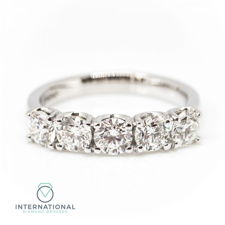 18ct White Gold & 1.53ct Triple Excellent Five Stone Diamond Ring