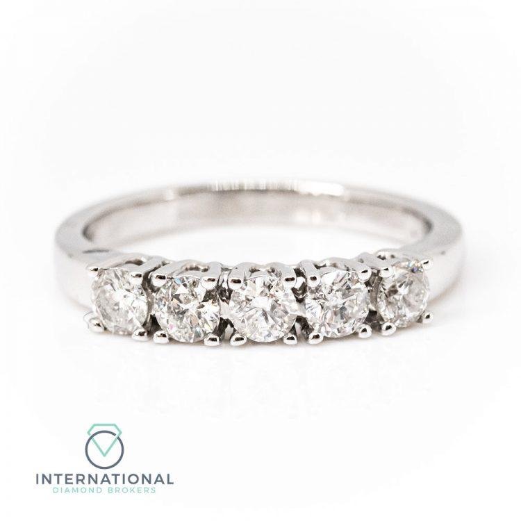 18ct White Gold 0.50ct Diamond Five Stone Ring