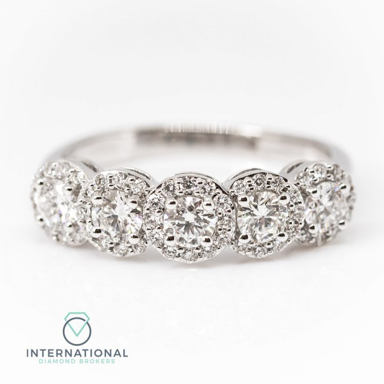 18ct White Gold & 1.15ct Diamond Five Stone Halo Ring