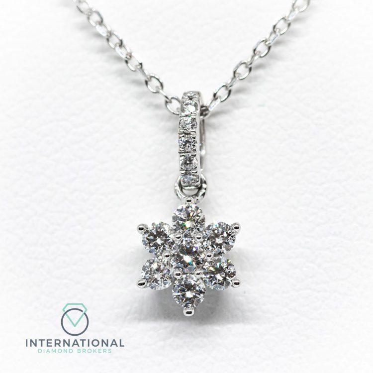 18ct White Gold 0.15ct Diamond Flower Cluster Pendant & Chain