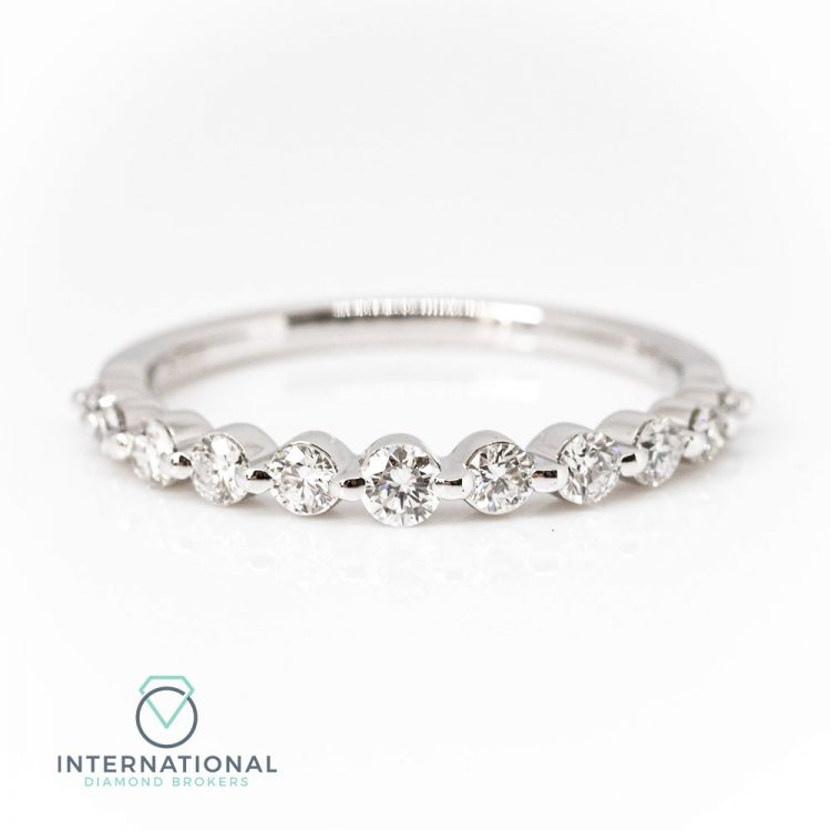 18ct White Gold 0.50ct Graduated Diamond Half Eternity Ring