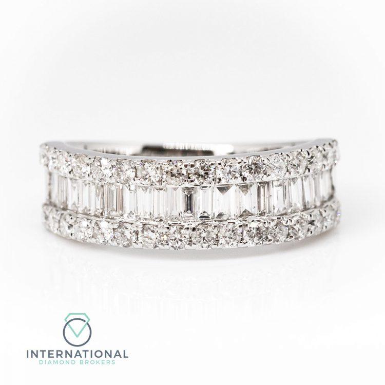 18ct White Gold 1.00ct Mixed Cut Diamond Half Eternity Ring