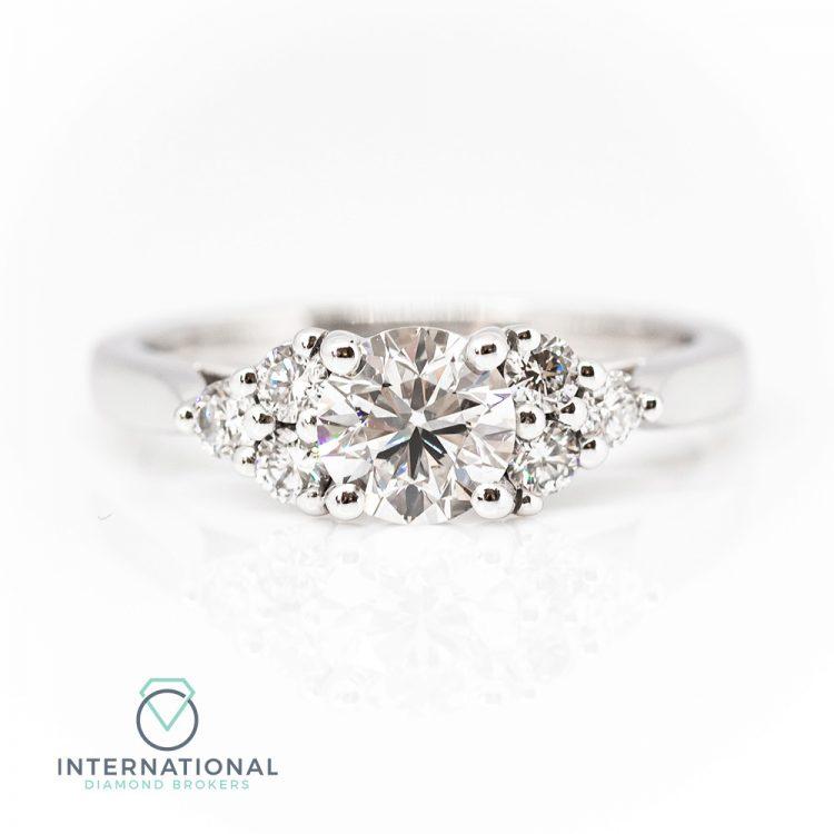 18ct White Gold & 1.01ct Diamond Multi Stone Engagement Ring