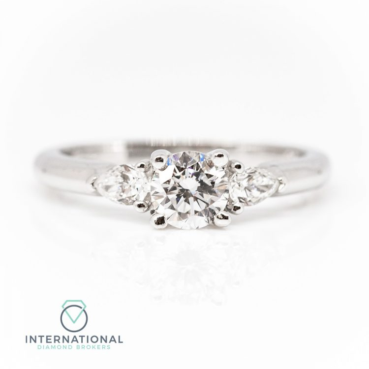18ct White Gold & 1.08ct Diamond Mixed Cut Trilogy Engagement Ring