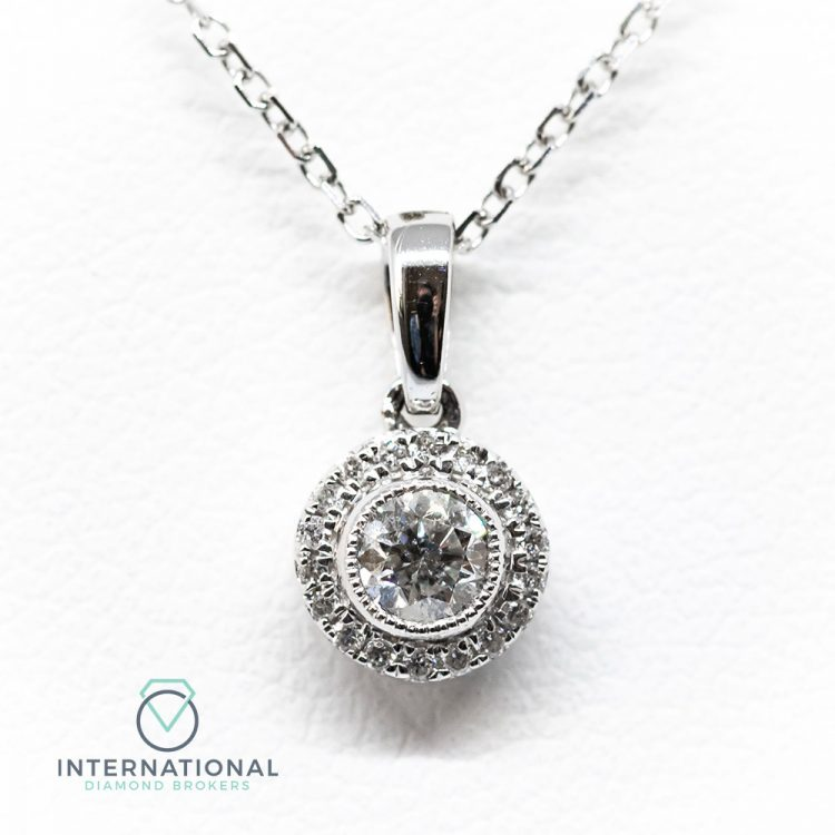 18ct White Gold 0.20ct Diamond Target Cluster Pendant & Chain