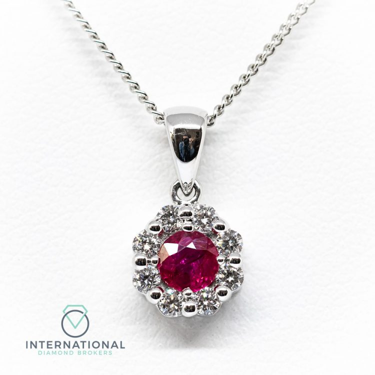 18ct White Gold 0.50ct Ruby & Diamond Round Cluster Pendant & Chain