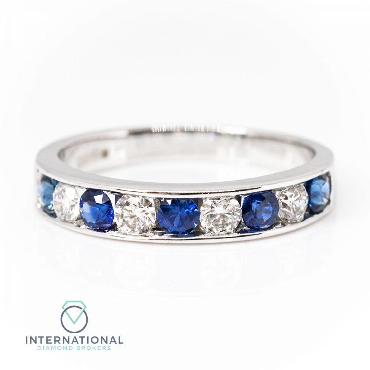 18ct White Gold, Channel Set Sapphire & Diamond Half Eternity Ring