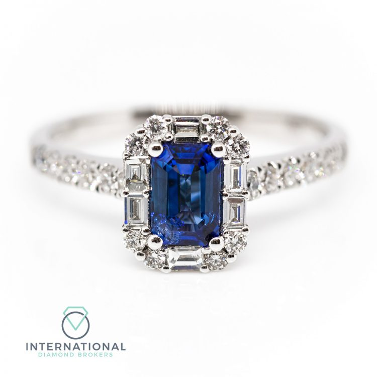 18ct White Gold, Sapphire & Diamond Mixed Cut Engagement Ring