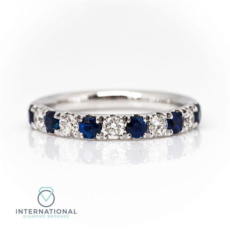 18ct White Gold, Claw Set Sapphire & Diamond Half Eternity Ring