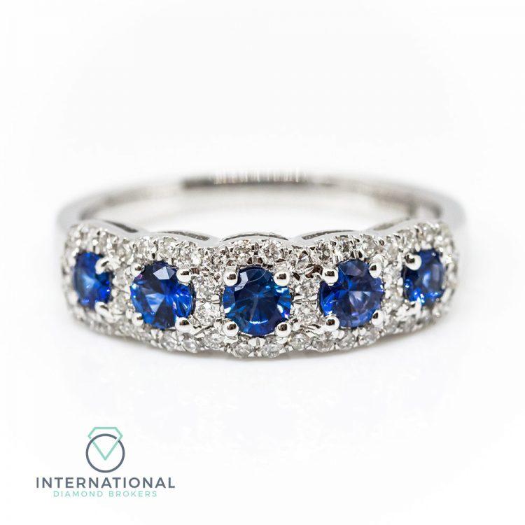 18ct White Gold, Sapphire & Diamond Five Stone Halo Ring