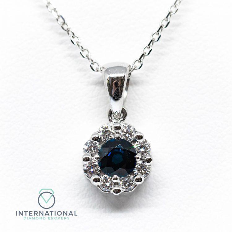 18ct White Gold 0.50ct Sapphire & Diamond Round Cluster Pendant & Chain