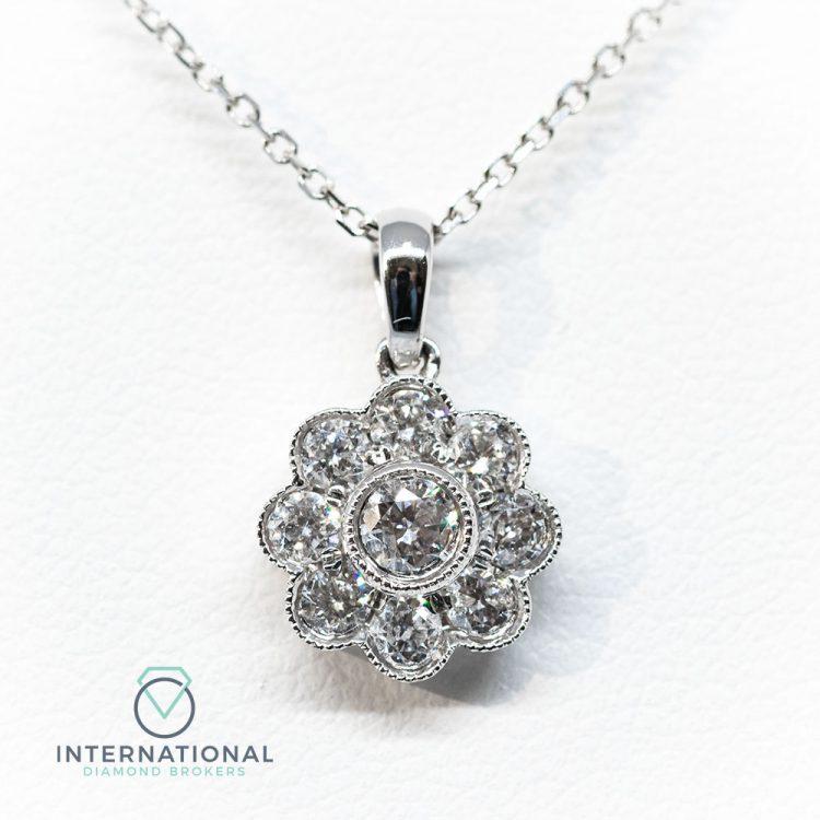 18ct White Gold 0.50ct Diamond Flower Cluster Pendant & Chain